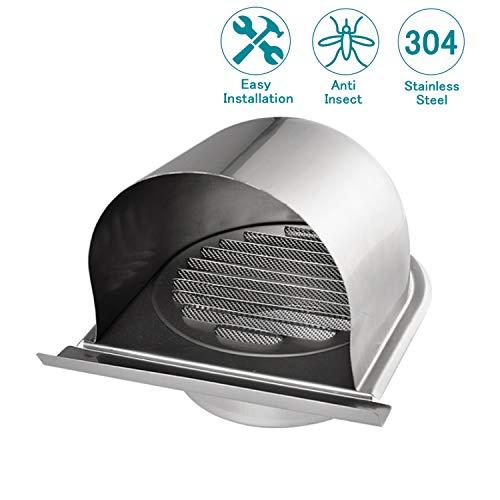 HG Power - Copertura per ventilazione, 10 cm, in acciaio INOX, con zanzariera integrata, presa...