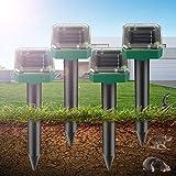 Repellente Talpa 4 pcs Ultrasuoni Ad Energia Solare per Repellente per roditori da Giardino Energia...