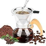 Brynnl Pour Over Coffee Maker Set, caraffa in vetro borosilicato da 300 ml con manico in legno,...